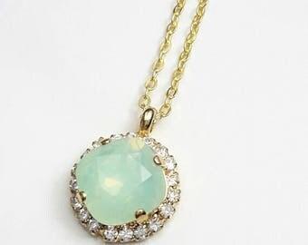 Crystal bridal necklace Square pendant Wedding necklace Crystal jewelry bridemaids Bridal Swarovski crystal pendant Mint opal Green Aqua