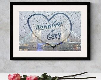 Romantic Rainy Window Heart Print,Couple Names, Couple Heart Print,Enagagement Gift,Wedding Gift Print,Personalised Heart,