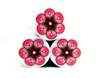 Polymer clay flower cane: Raw polymer clay cane - Millefiori cane supplies - Pink and brown flower cane - Supplies for jewelers