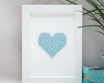 Hanger - heart origami - dark turquoise and white - 'My heart, my love' Collection