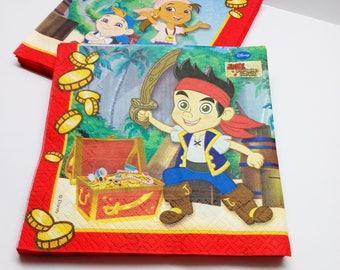Jake and the Neverland Pirates napkins serving 20 pcs. Napkins Serving for children's holiday. Set for children's birthday. Jake party.