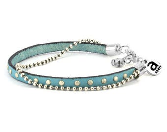 Turquoise Azely studded leather bracelet