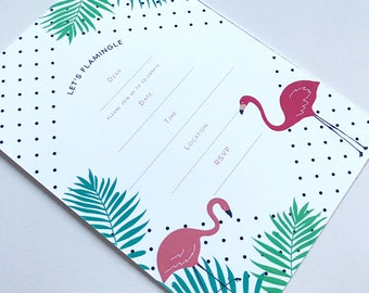 Invitations Blank - Let's Flamingle