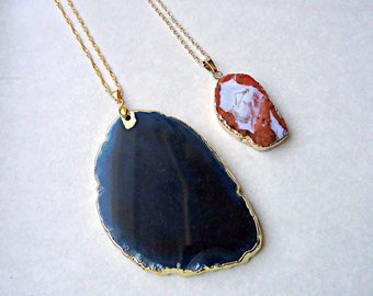 Necklace genuine agate slice - gold chain pink agate slice necklace - necklace - Midnight Blue agate necklace geode slice.