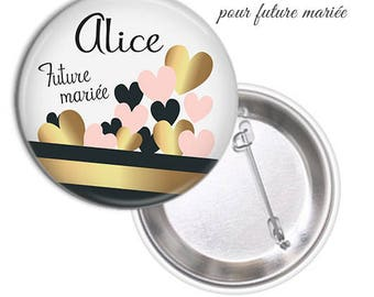 1 large model 75mm bride badge.. .personnalisable name date @3