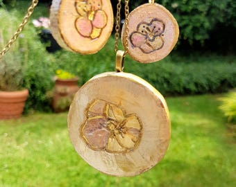 Jewelry set of 3 woodburned drop pansy pendant, hand drawn pansy earrings with hooks with a real flower necklace, pastel chalk pencils