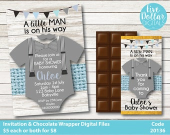 Little Man Romper Personalised Digital Baby Shower Sprinkle Invitation & Chocolate Candy Bar Wrapper