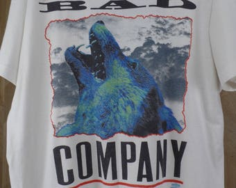 Vintage Bad Company XL Concert Tour Band T Shirt Wolf USA Holywater Tour 1991 / Screen Stars Best / Made in USA