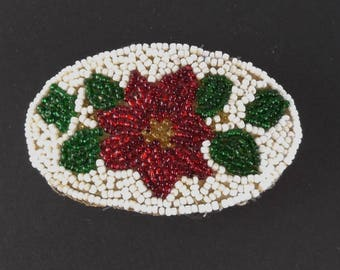 Vintage Leather and Glass beads Barrette / Christmas Poinsettia / Red and Green on White
