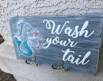 Mermaid bathroom decor Wash your tail towel hooks hand painted grey whitewashed painted lettering raised applique