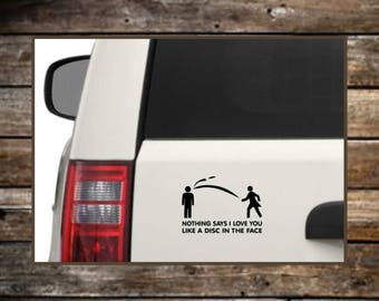 Disc Golf Decal / Disc in Face Decal / Laptop Decals / Car Decals / Computer Decals / Window Decals