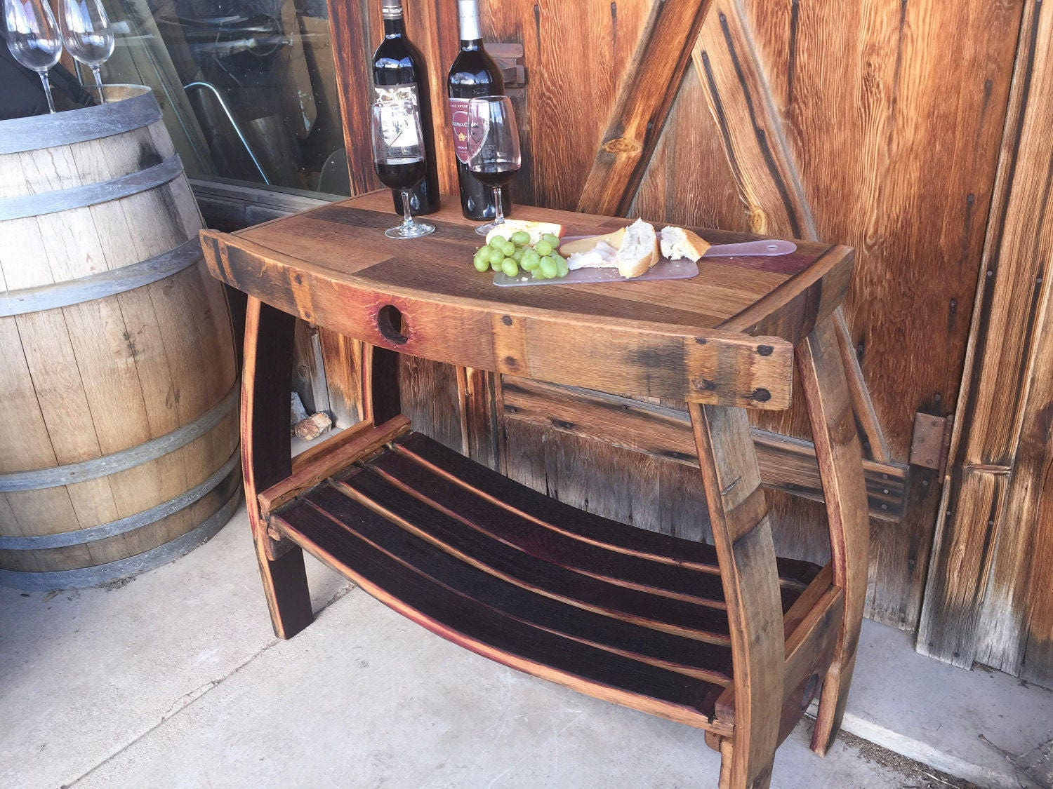 Wine Barrel Table Living Room Bistro Entryway Decor Stave Station