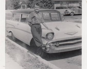 Vintage Car Photo Chevy Chevrolet and Cute Woman Found Black & White Snapshot Paper Art Ephemera Old Vehicle Antique Photograph 1950's