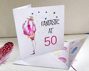 Flamingo Card 50th Card Pink Flamingo Hand Embelished Greeting Card