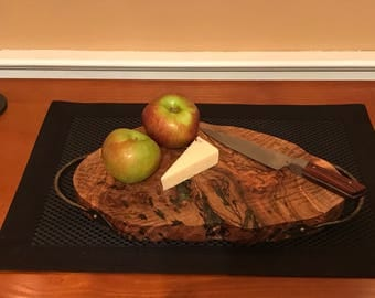 Maple burl tray with hand forged leaf accented handles