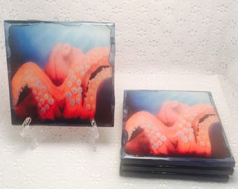 2 or 4 piece Coaster set/ Octopus/ Airbrush/ Deep Sea