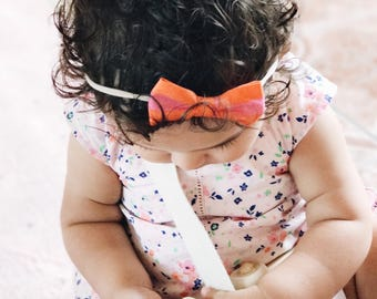 Pink and Orange Stripes Bow | Baby Headband, Baby Girl Bows, Hair Clip, Headbands, Bow Clips, Girls Hair Clip, Pink Bow, Newborn Bows
