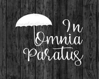In Omnia Paratus Script Umbrella decal, Umbrella Decal, In Omnia Paratus, Car decal, Window decal, Laptop Decal, Tablet decal, script decal