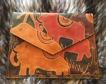 Vintage Leather Elephant Clutch