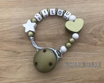 Gold and white pacifier Lilou heart
