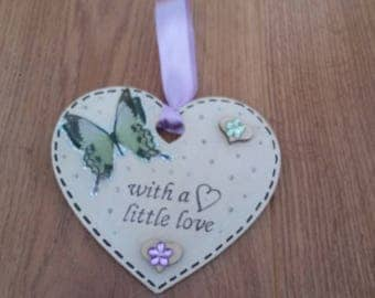 With A Little Love Heart Plaque