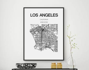 SALE Los Angeles Map Print, Los Angeles, Los Angeles Map Poster, California, LA, California Map, LA Map, City Map Print, Black and White Map
