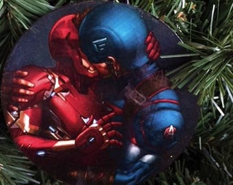 Gay Ironman & Captain America Kissing Ornament, Gay Pride Ornament, Gay Pride, Gay Christmas Ornament, Gay Ornament,  Gay Wood Ornament