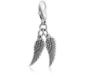 SET of 4 charms charm double angel wing Silver (E25)