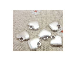 SET of 10 heart charms Silver (B53) full color