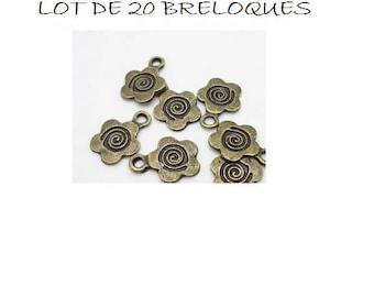 set of 20 charms bronze spiral flower (R43)
