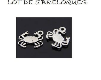 SET of 6 crab Beach (C09) silver color charms