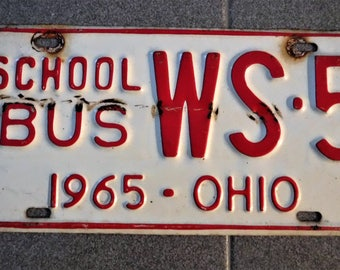 1965 OHIO SCHOOL BUS License Plate...Collectible & Unusual