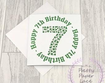 7th Birthday Card, Birthday Card, Birthday Boy, Personalised Card, Seventh Birthday, Happy 7th Birthday, Boys 7th Birthday, Papercut Card