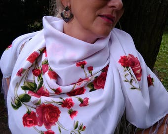 Wool shawl / wedding shawl / scarf / roses scarf / gift / present/