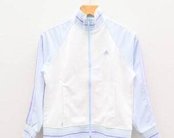 Vintage ADIDAS Small Logo Sportswear Blue White Zipper Windbreaker Jacket Size S