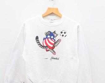 Vintage BKLIBAN Crazy Shirt Football Sports White Sweater Sweatshirt Size XS