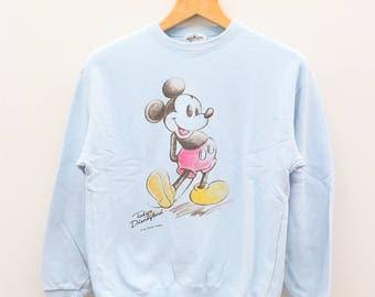 Vintage MICKEY MOUSE Tokyo Disneyland Cartoon Animation Blue Sweater Sweatshirt Size M