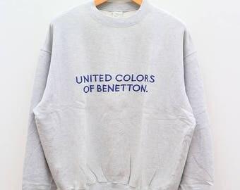 Vintage BENETTON United Colors Of Benetton Gray Sweater Sweatshirt