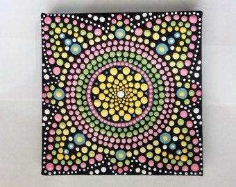 Canvas Wall Art, Mandala Painting, Dot Art,  yellow, ready to hang, boho, eastern art, boho gift, boho home, original painting, hippie, gift