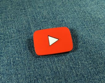 YouTube button pin. YouTube wooden brooch. Handmade wooden brooch. Colored wooden pin badge. Social network wooden jewelry.