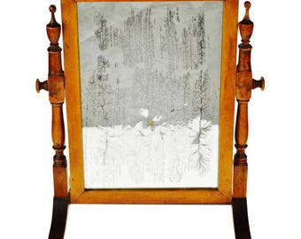 Vintage Wood Table Top Shaving Mirror