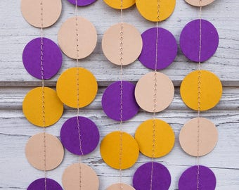 Purple and Yellow garland, Baby shower, Beige backdrop, Guirlande, Halloween backdrop, Party garland, Birthday decorations, Photo backdrop