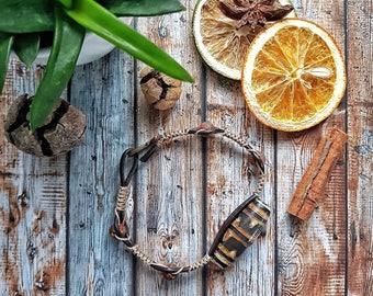 Mens leather bracelet with Dzi bead, powerful amulet