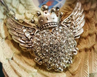 Clear Angel Wings Necklace
