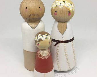 Custom Peg Doll Family of 3 // 2 Adults, 1 Child or Pet