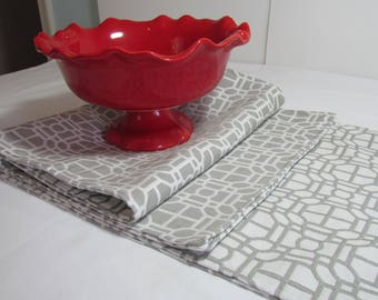 Gray and White Reversible Table Runner