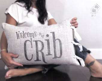 """baby shower gift, baby gift, birthday gift, mother's day gift, crib pillow, baby pillow, nursery pillow, nursery gift, """"Welcome to my Crib"""""""