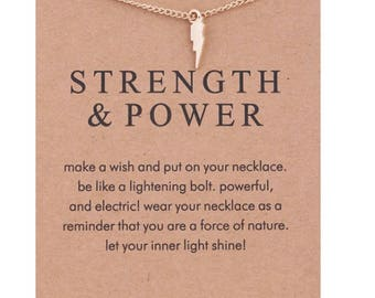 Strength & Power Necklace, Lightning Bolt Charm, Gold Dipped, Dogeared Jewelry, Inspirational Jewelry, Fitness Motivation, Gift Idea, Friend
