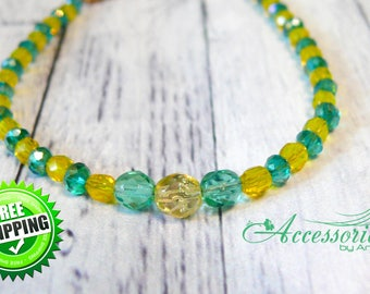 Green Yellow Crystal bracelet Boho bracelet Bracelet gift Delicate bracelet Summer Everyday bracelet Green Yellow jewelry Positive bracelet