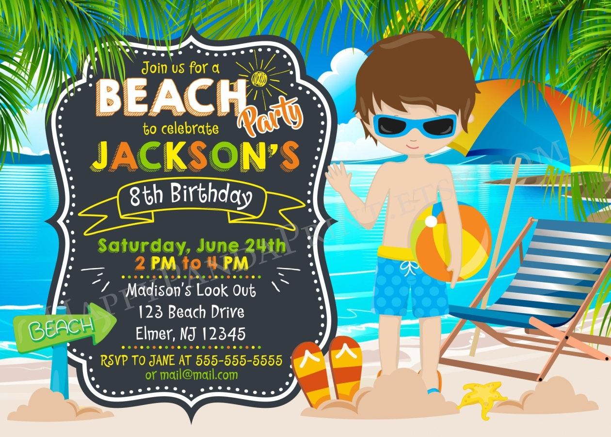 BOY BEACH PARTY invitation Beach Party Birthday Invitation Summer